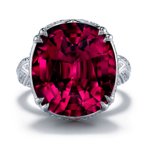 Neon Titanium Tourmaline Ring with D Flawless Diamonds set in 18K White Gold