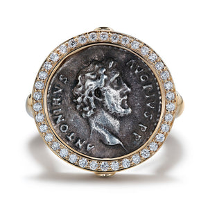 Ancient Roman Coin Ring with D Flawless Diamonds set in 18K Yellow Gold
