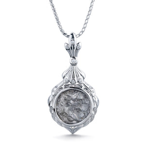 Ancient Roman Coin Necklace with D Flawless Diamonds set in 18K White Gold