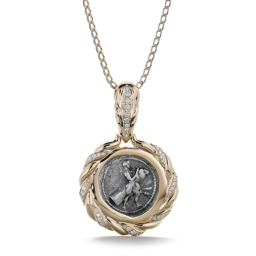 Ancient Roman Coin Necklace with D Flawless Diamonds set in 18K Yellow Gold
