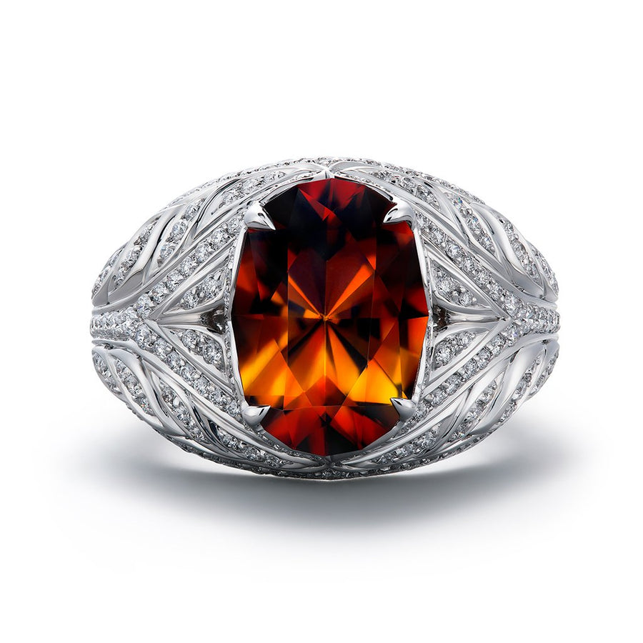 Bastnasite Ring with D Flawless Diamonds set in 18K White Gold
