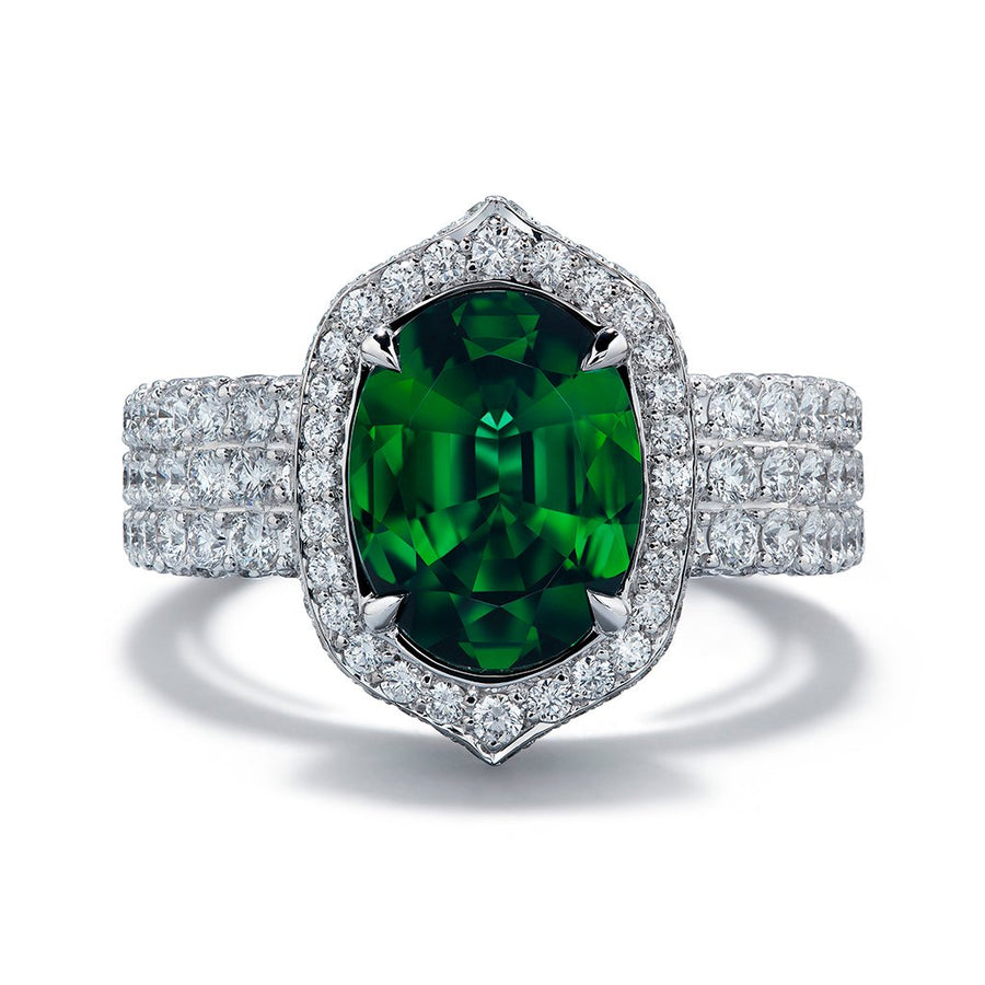 Kenya Tsavorite Ring with D Flawless Diamonds set in 18K White Gold