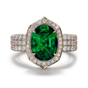 Kenya Tsavorite Ring with D Flawless Diamonds set in 18K Yellow Gold