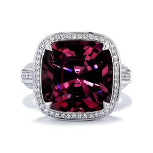 Mogok Violet Spinel Ring with D Flawless Diamonds set in 18K White Gold