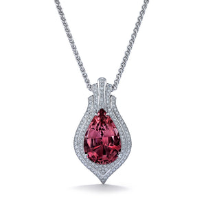 Madagascar Morganite Necklace with D Flawless Diamonds set in 18K White Gold