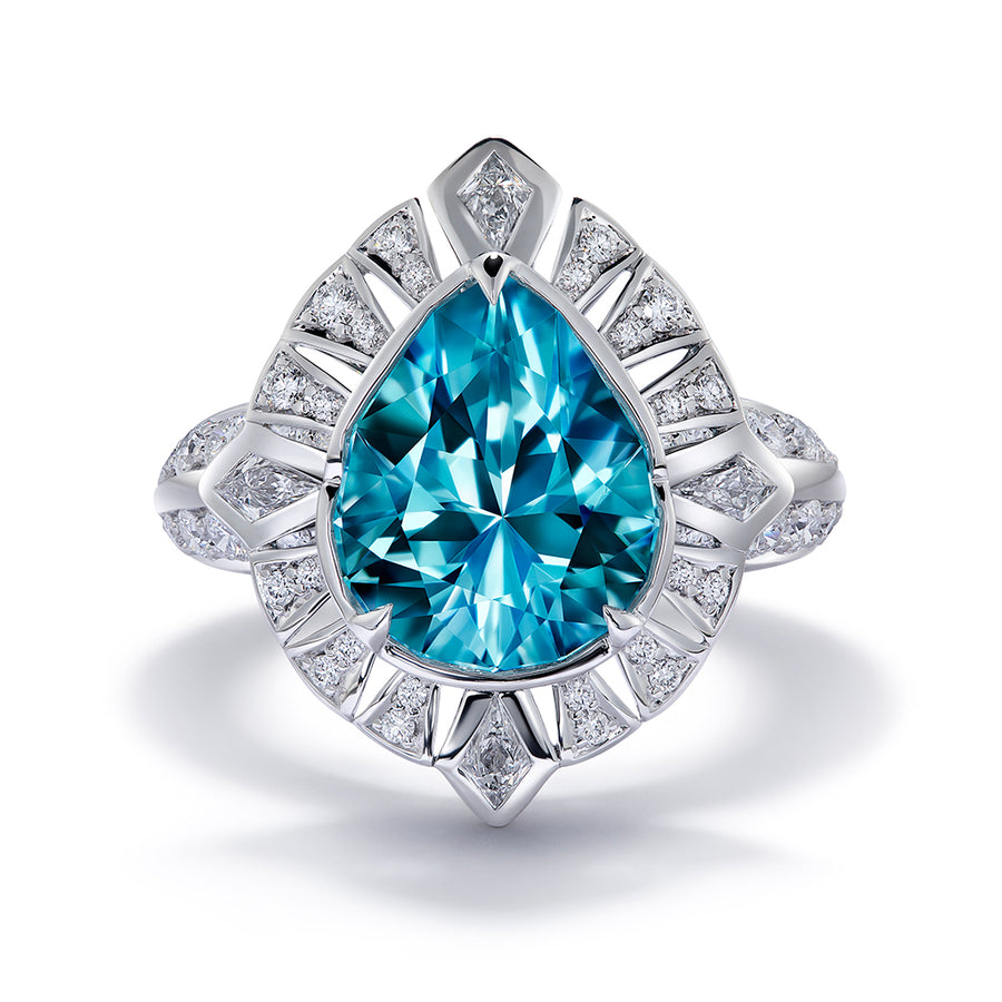 Paraiba Tourmaline Ring with D Flawless Diamonds set in 18K White Gold