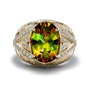 Russian Sphene Ring with D Flawless Diamonds set in 18K Yellow Gold