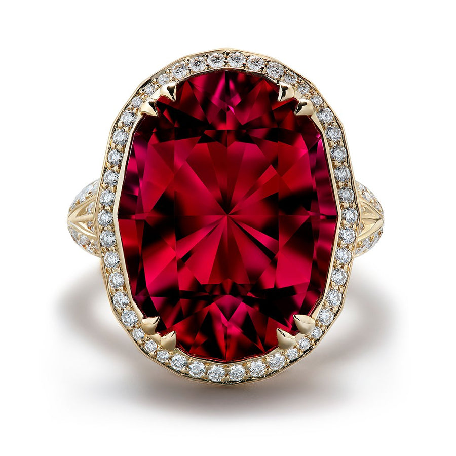 Red Apatite Ring with D Flawless Diamonds set in 18K Yellow Gold
