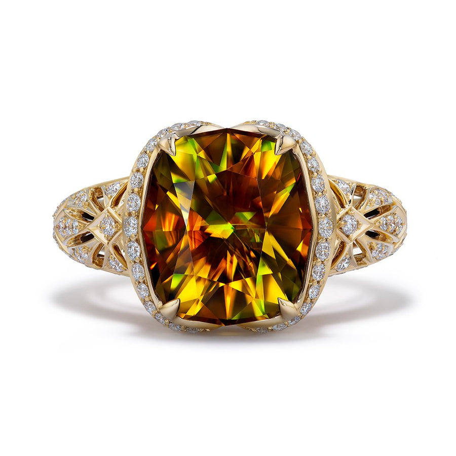 Sphene Ring with D Flawless Diamonds set in 18K Yellow Gold