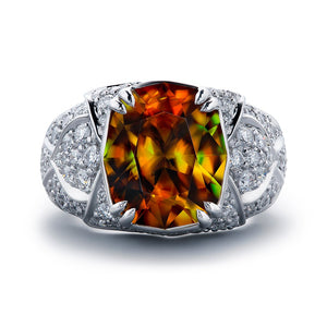 Sphene Ring with D Flawless Diamonds set in 18K White Gold