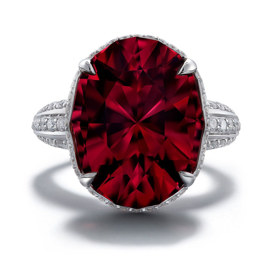 Red Apatite Ring with D Flawless Diamonds set in 18K White Gold