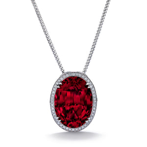Red Apatite Necklace with D Flawless Diamonds set in 18K White Gold