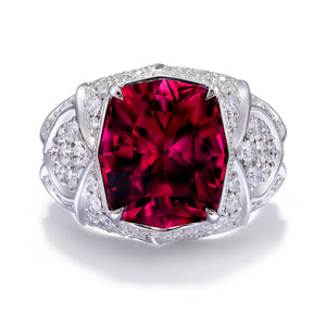 Rubellite Ring with D Flawless Diamonds set in Platinum