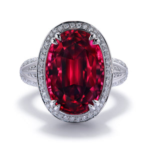 Rubellite Ring with D Flawless Diamonds set in 18K White Gold
