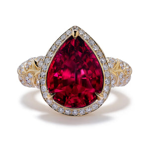 Rubellite Ring with D Flawless Diamonds set in 18K Yellow Gold