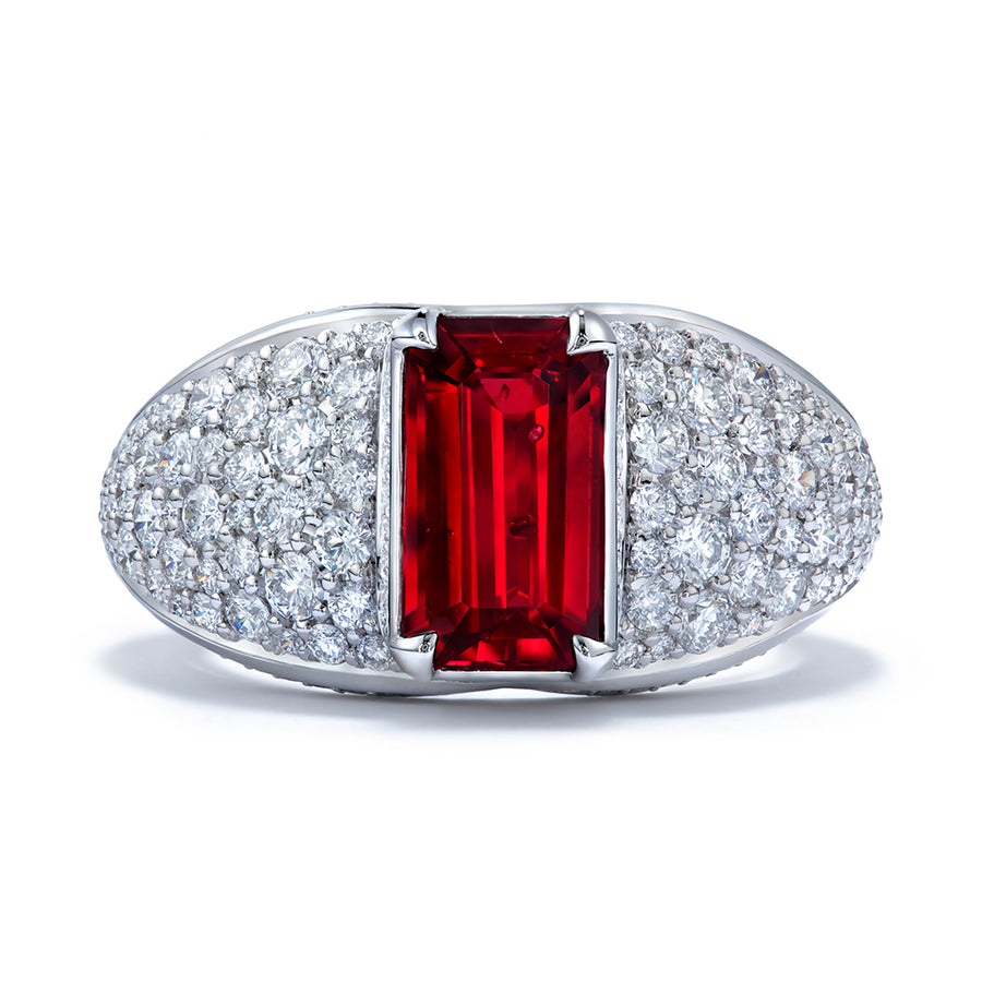 Unheated Gemfields Pigeon Blood Ruby Ring with D Flawless Diamonds set in Platinum