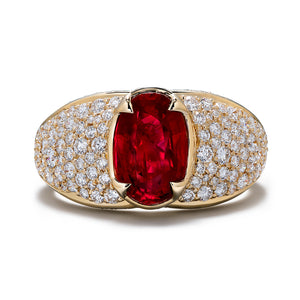 Unheated Gemfields Pigeon Blood Ruby Ring with D Flawless Diamonds set in 18K Yellow Gold