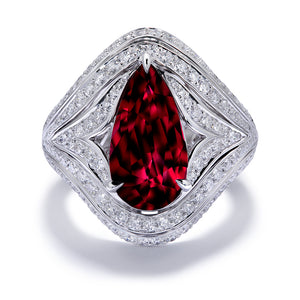 Unheated Gemfields Pigeon Blood Ruby Ring with D Flawless Diamonds set in 18K White Gold