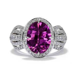 Unheated Didy Pink Sapphire Ring With D Flawless Diamonds set in Platinum