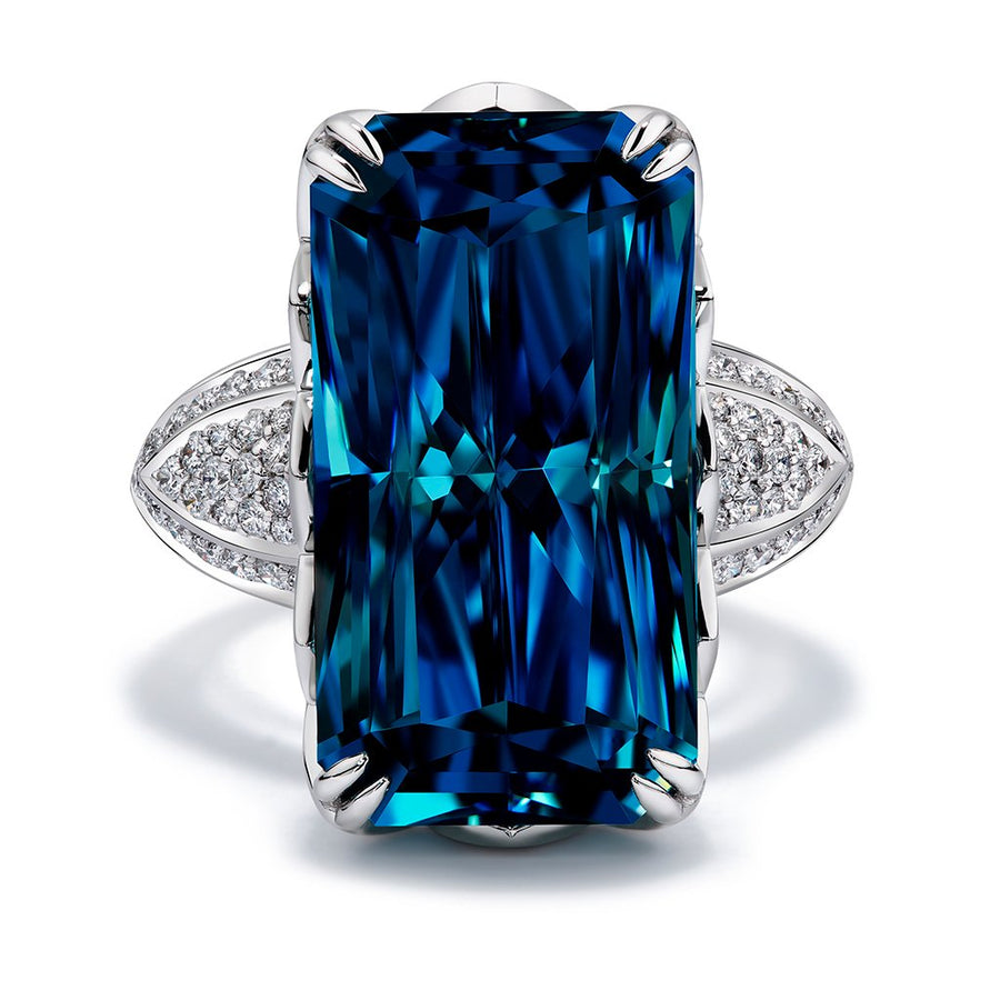 Blue Zircon Ring with D Flawless Diamonds set in 18K White Gold