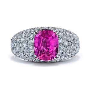 Ceylon Pink Sapphire Ring with D Flawless Diamonds set in Platinum