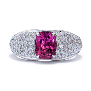 Ceylon Pink Sapphire Ring with D Flawless Diamonds set in 18K White Gold