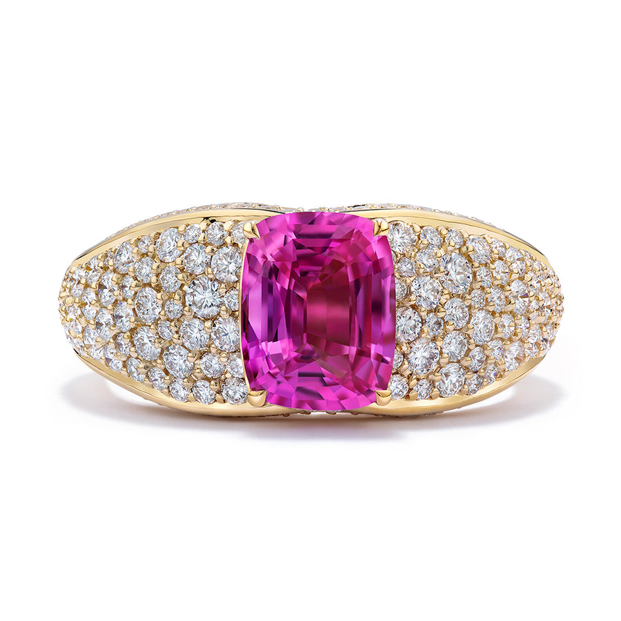 Pink Sapphire Ring with D Flawless Diamonds set in 18K Yellow Gold