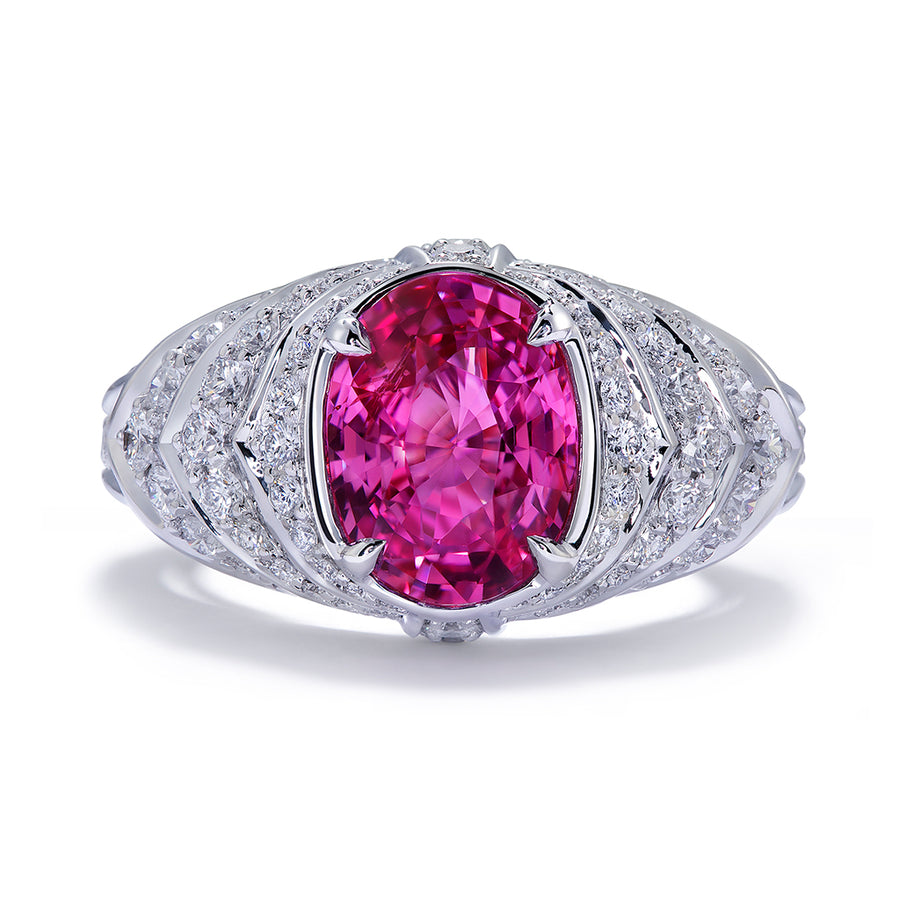 Pink Sapphire Ring with D Flawless Diamonds set in 18K White Gold