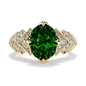 Green Zircon Ring with D Flawless Diamonds set in 18K Yellow Gold