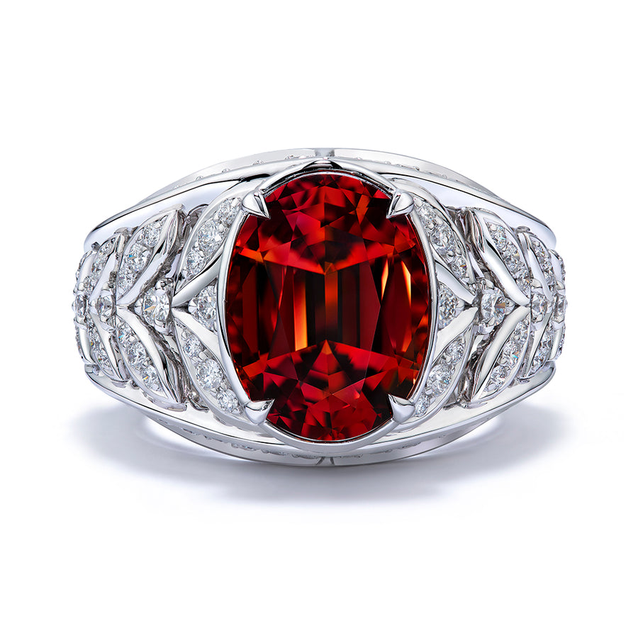 Spessartite Garnet Ring with D Flawless Diamonds set in Platinum