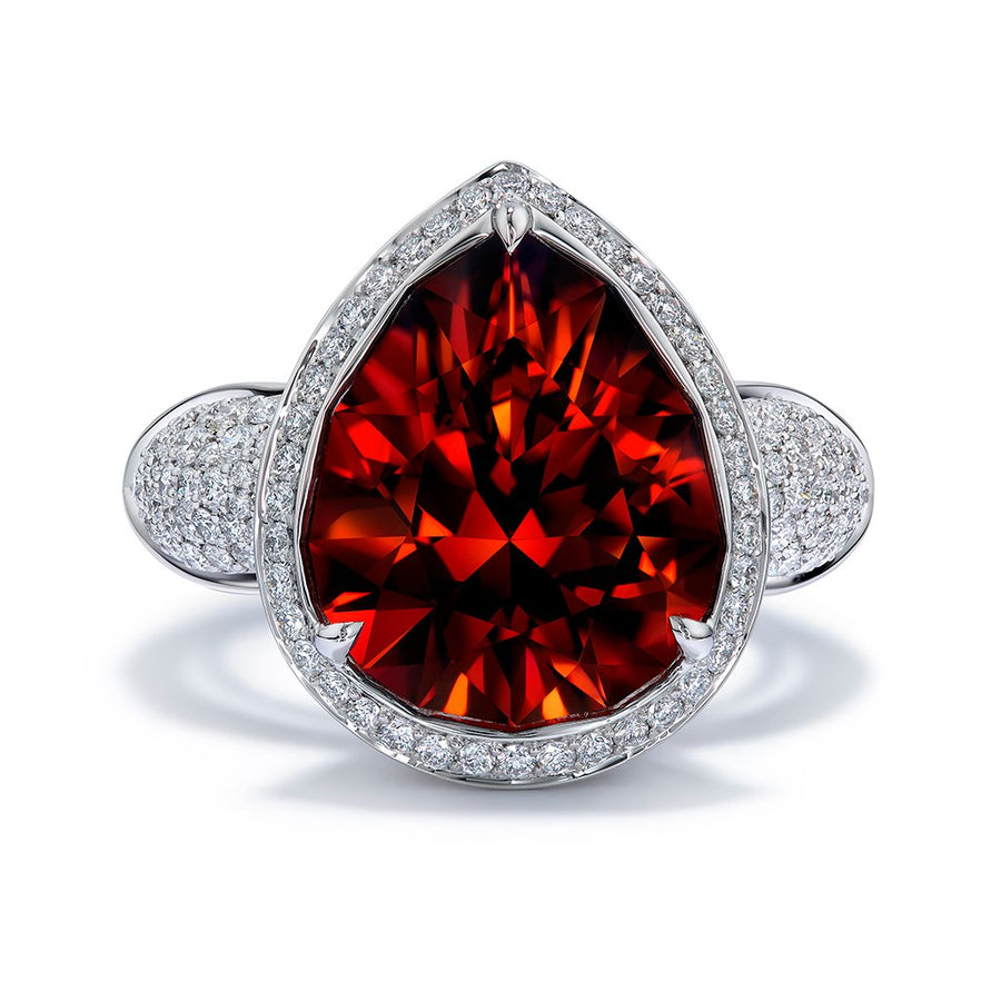 Mandarin Garnet Ring with D Flawless Diamonds set in Platinum