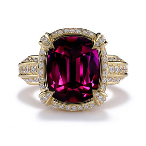 Magenta Garnet Ring with D Flawless Diamonds set in 18K Yellow Gold