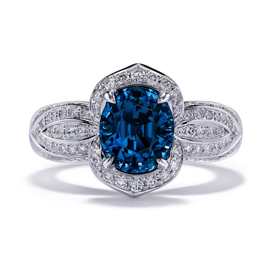 Cobalt Spinel Ring with D Flawless Diamonds set in 18K White Gold