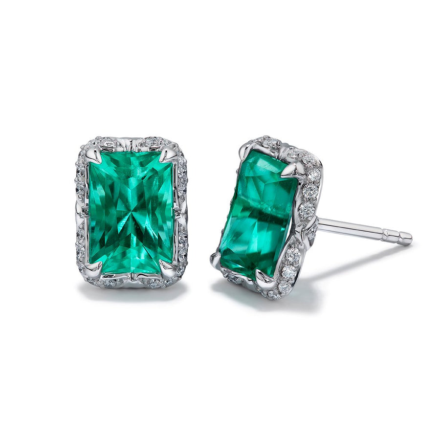 Muzo Colombian Emerald Earrings with D Flawless Diamonds set in 18K White Gold