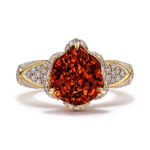 Mandarin Garnet Ring with D Flawless Diamonds set in 18K Yellow Gold