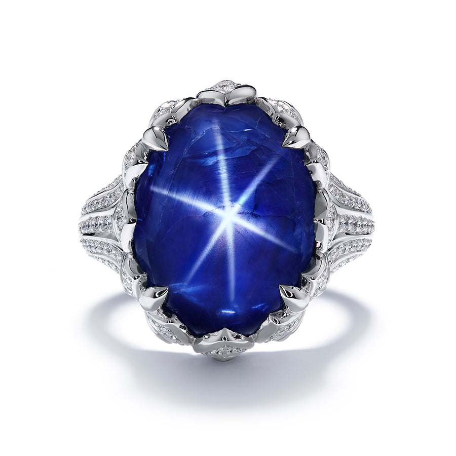 Unheated Burmese Star Sapphire Ring with D Flawless Diamonds set in 18K White Gold
