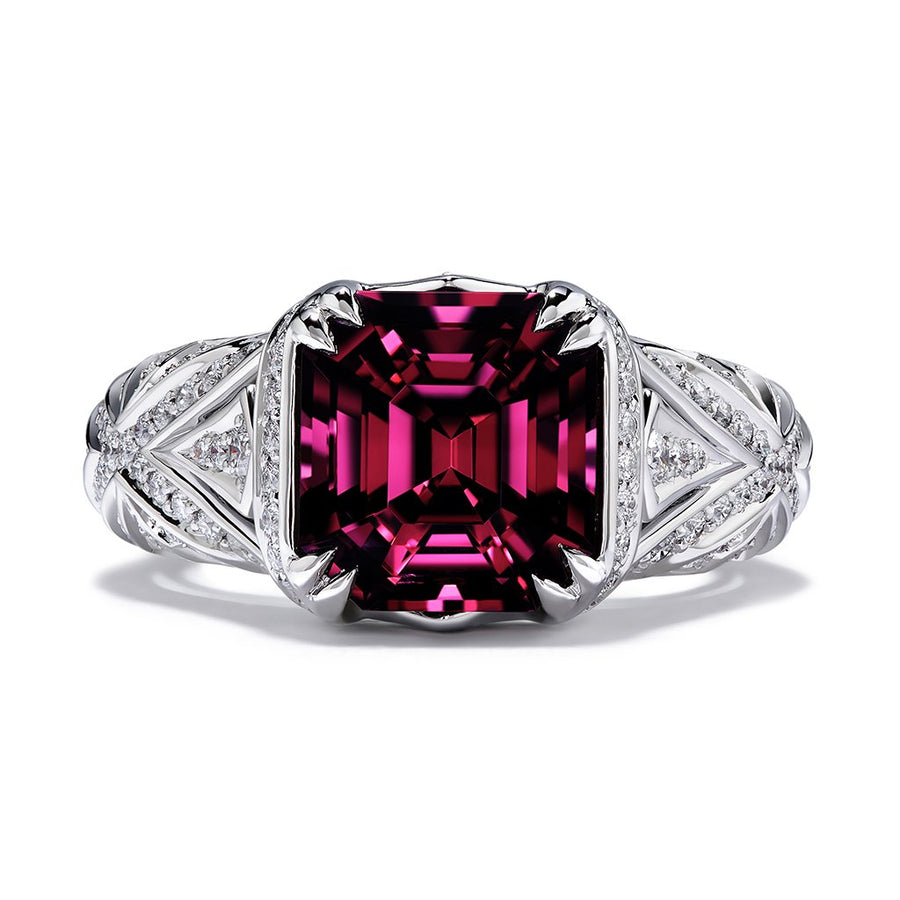Spinel Ring with D Flawless Diamonds set in Platinum