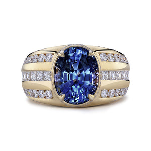 Unheated Ceylon Sapphire Ring with D Flawless Diamonds set in 18K Yellow Gold