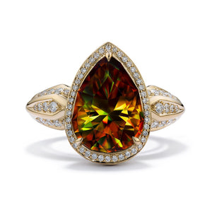 Himalayan Sphene Ring with D Flawless Diamonds set in 18K Yellow Gold