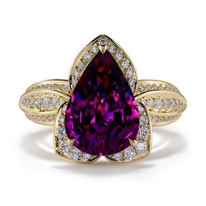 Blue Magenta Garnet Ring with D Flawless Diamonds set in 18K Yellow Gold