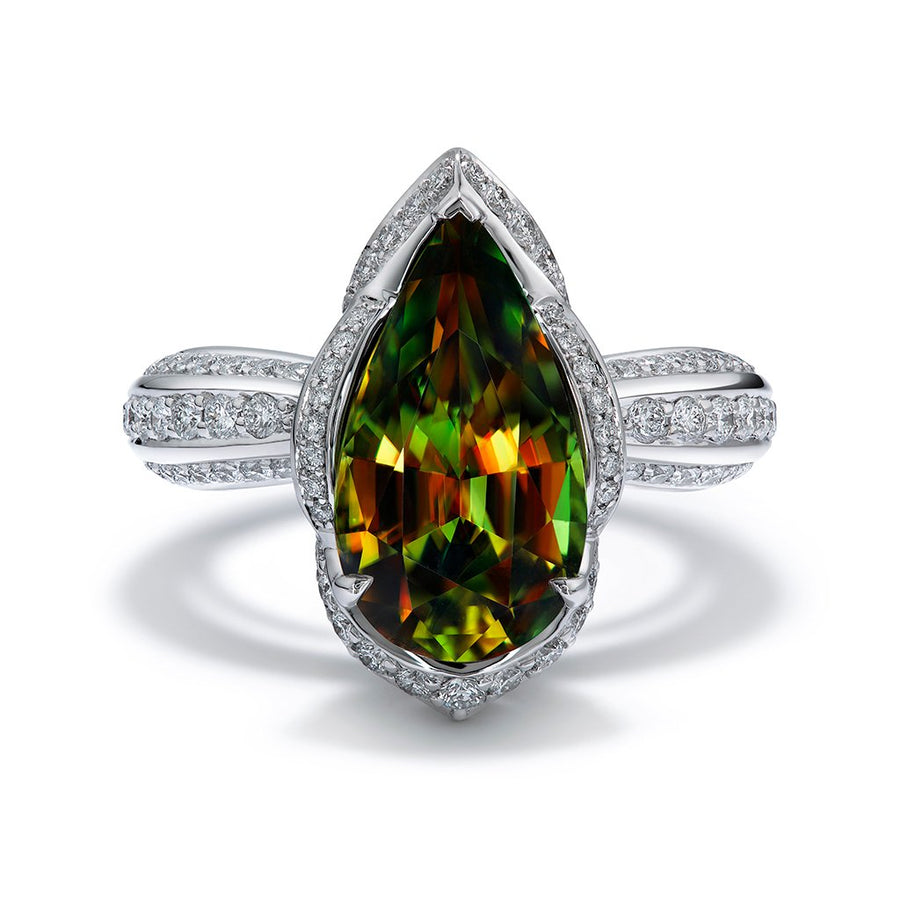 Himalayan Sphene Ring with D Flawless Diamonds set in 18K White Gold