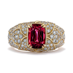 Balas Spinel Ring with D Flawless Diamonds set in 18K Yellow Gold