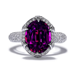 Blue Magenta Garnet Ring with D Flawless Diamonds set in Platinum