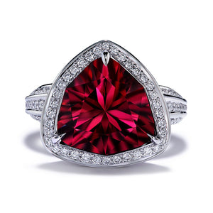 Red Zircon Ring with D Flawless Diamonds set in Platinum