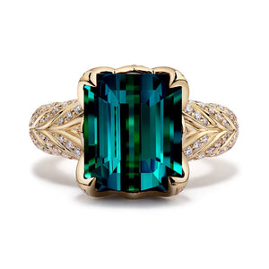 Indicolite Ring with D Flawless Diamonds set in 18K Yellow Gold