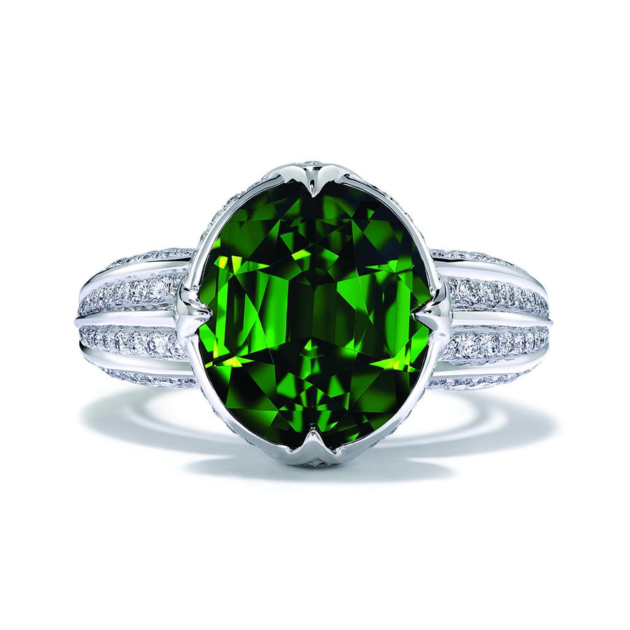 Green Zircon Ring with D Flawless Diamonds set in Platinum
