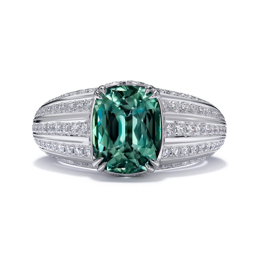 Paraiba Tourmaline Ring with D Flawless Diamonds set in Platinum