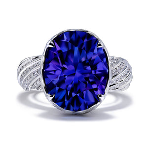 Tanzanite Ring with D Flawless Diamonds set in Platinum