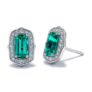 No Oil Muzo Colombian Emerald Earrings with D Flawless Diamonds set in Platinum