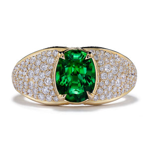 Tsavorite Ring with D Flawless Diamonds set in 18K Yellow Gold